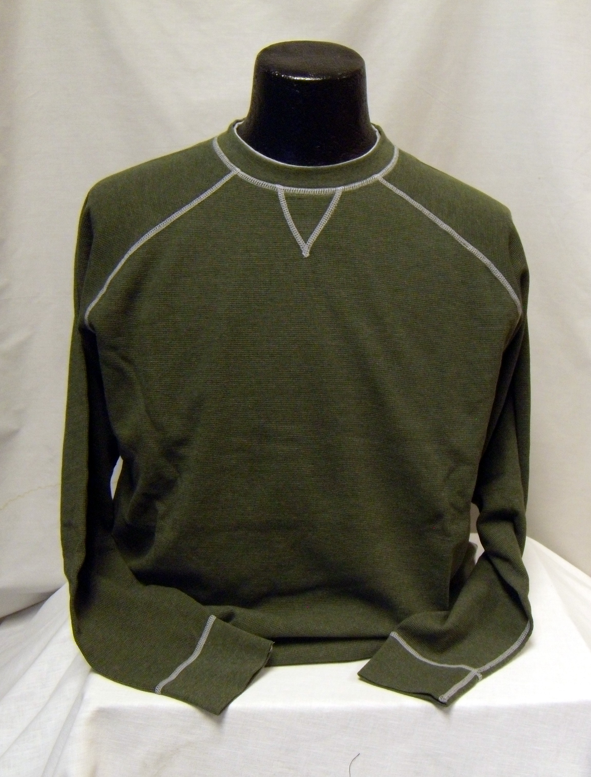 FX Olive Crew Waffle  Sweater