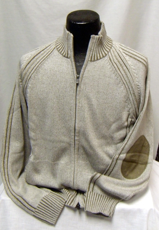 FX Full Zip Beige Sweater